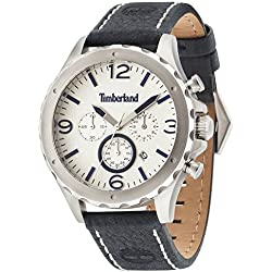 Timberland Men's Quartz Watch with Beige Dial Analogue Display and Blue Leather Strap 14810JS/07