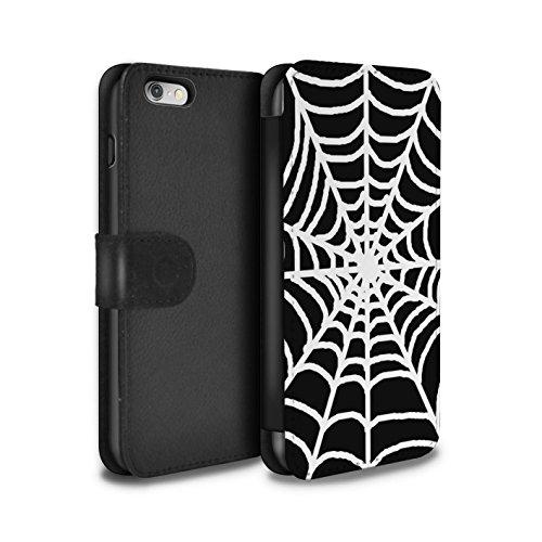 Stuff4 Coque/Etui/Housse Cuir PU Case/Cover pour Apple iPhone 6S / Drap Musique/Mélodie Design / Mode Noir Collection Toile d'araignée