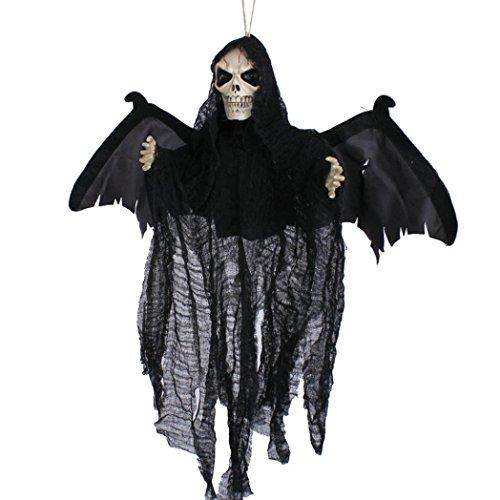 HCFKJ 2017 Mode Halloween Sound Control Creepy Scary Animated Skeleton Geist Halloween Party Dekoration (SCHWARZ)