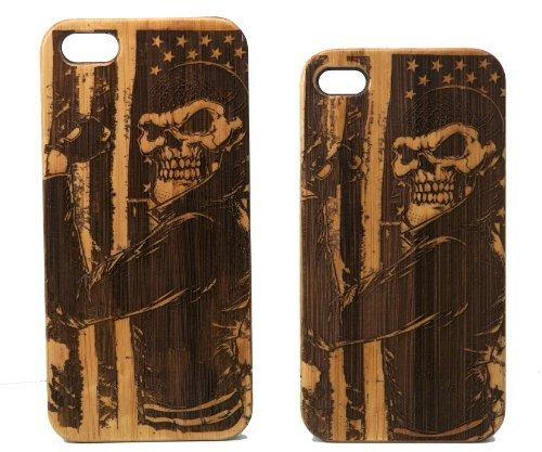 Biker Skull iPhone 6Plus Oder iPhone 6S Plus Case/Cover von imakethecase | USA Amerikanischer Flagge Motorrad Chopper Hog Skelett Gang | umweltfreundlichem Bambus Holz Handy Cover. -