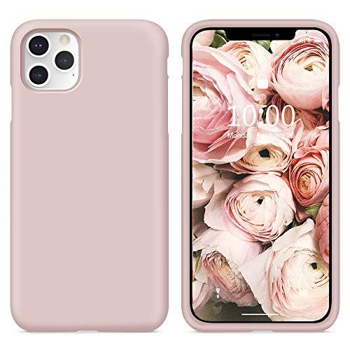 Surphy cover iphone 11 pro, custodia iphone 11 pro silicone liquido cover antiurto con morbida microfibra fodera, ultra leggero cover case per iphone 11 pro 5.8 pollici(2019),rosa sabbia