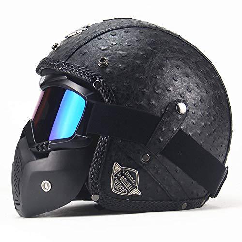 1DFAUL Retro Unisex Motorrad Harley Halbhelm, DOT Approved Open Face Elektro Fahrrad Chopper Cruiser Jet Bobber 3/4 Lederhelme (Schwarz),M