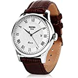 Men's Casual Business Quartz watch Luxury Brown Genuine Leather Band Date Calendar Wrist