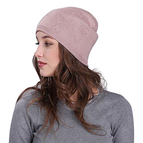 Amlaiworld Winter Herbst bowknot Strass Dekoration Strickmütze damen Wolle Mützen Frauen Crochet hut Warm Caps (One size, Rosa) Winter Hüte Für Teenager
