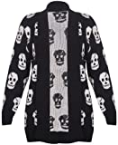 Womens New Skull Printed Ladies Long Sleeves Knitted Ribbed Edge Trim Front Open Cardigan Top Plus Size Black Size 16 - 18