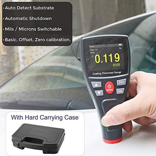 Lackdickenmessgerät Auto, Zero & Point Cal, breites 2,2-Zoll-HD-Farb-LCD, Datenspeicherung, Bildschirmdrehung, USB-Ladeanschluss, automatische F/NF