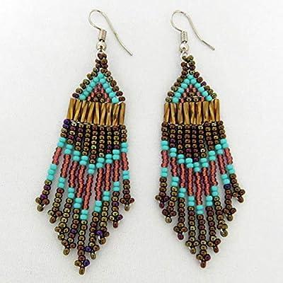 Boucles d'oreilles petit chandelier en perles Sud Africain Zoulou - Bronze et turquoise