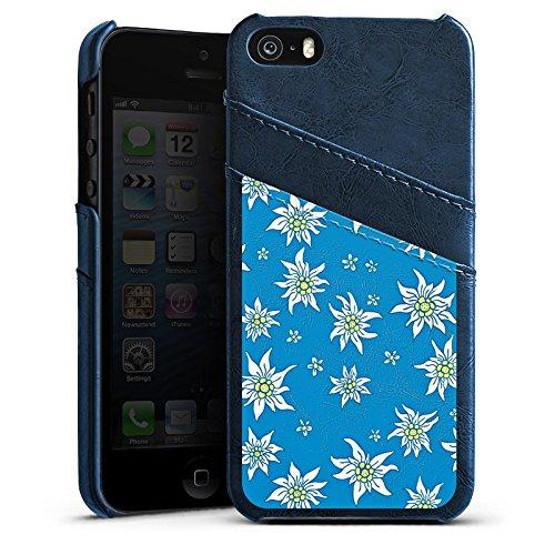 Apple iPhone 4 Housse Étui Silicone Coque Protection Fleurs Fleurs Edelweiss Étui en cuir bleu marine