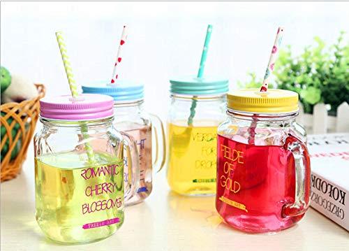 Tazza in vetro con tazza di succo di frutta tazza con coperchio in vetro colorato becher glas juice cup glasflasche mit einer kappe bedeckte farbige getränkeschale