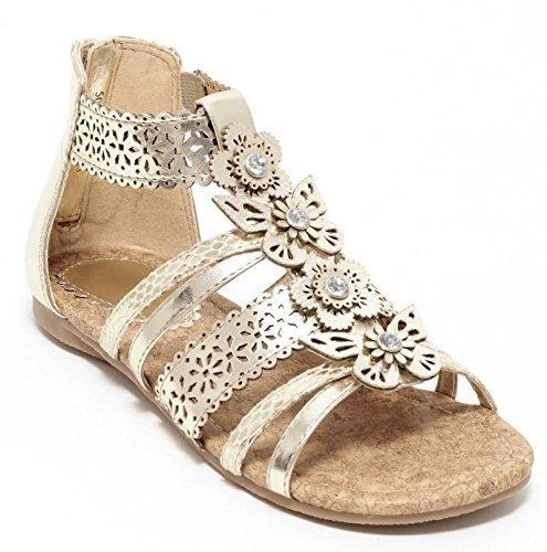 Mädchen Römersandalen Gr. 27-36 Riemchensandalen Sandalen Schuhe Sandalette gold (27)