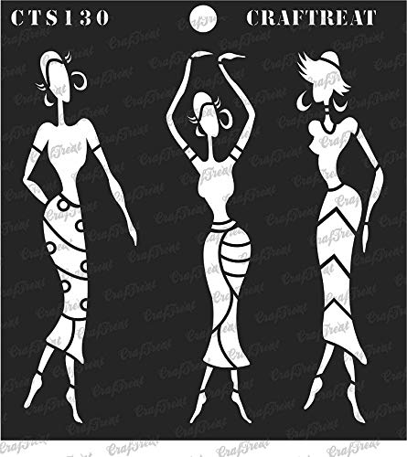 """thecraftshop CrafTreat African Models 2 Reusable Template Stencil for Art and Craft (6""""X6"""")"""