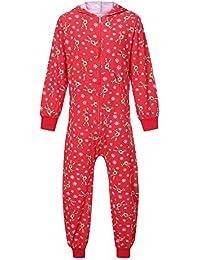 FRAUIT Familiares Ropa de Dormir Traje a Juego de Navidad Mujer Hombre Bebé Niño Niña de Pijamas Campana de Reno para Hombre Mono con Cremallera Pijama Familiar Pijama Traje de Navidad