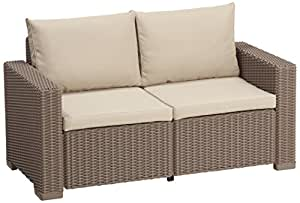 Allibert California 2 Seater Sofa - Cappuccino with Sand cushions