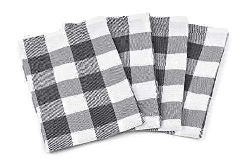 Zestri 4er-Set Geschirrhandtücher - Made IN EU - 100% Baumwolle - Kariert Geschirrtücher Anthrazit | 50 x 70 cm