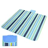 "Tecare Picnic Blanket Tote Waterproof Handy Mat with Strap Extra Large for Outdoor Camping Beach Baby Kids 57""x78"" Stripe"