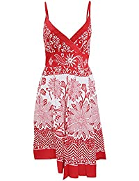 Universal Textiles Womens/Ladies Stripey Flower and Paisley Print Strappy Crossover Summer Dress