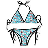 Triangle Bikini Swimsuits,Hibiscus Petals Traditional Icons Sexy Bikini 2 Pieces