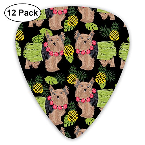 Yorkie Hula Dog - Yorkshire Terrier Dog, Yorkie Hula, Pineapple Hawaii - Black_1149 Classic Celluloid Picks, 12-Pack, For Electric Guitar, Acoustic Guitar, Mandolin, And Bass - Yorkie Food Dog