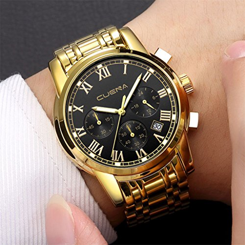 originaltree Herren Edelstahl Business Kalender Armbanduhr Luminous zweite Minute Quarz Armbanduhr, Golden + Black