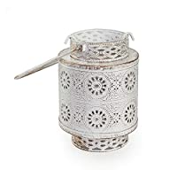 Decorative Metal White and Gold Candle Holder - JF906, Multi Color