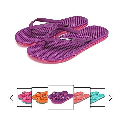 Qansi Beach Tongs Flip Flops Sandales Bout Ouvert 5 Couleurs Femme