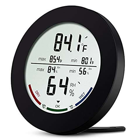 Digital Hygrometer Thermometer, ORIA Temperature and Humidity Monitor with Large LCD Display, Comfort Indicators, MIN/MAX Records, ℃/℉ Switch and Trend of Temperature Change for Home, Office, Bedroom and Kitchen
