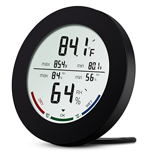 Digital Hygrometer Thermometer, ORIA Digital Hygrometer und Luftfeuchtigkeit Monitor mit LCD-Display, Komfort Indikatoren, Min/Max Records, °C / °F-Schalter und Trend für Zuhause, Büro, Schlafzimmer und Küche ect
