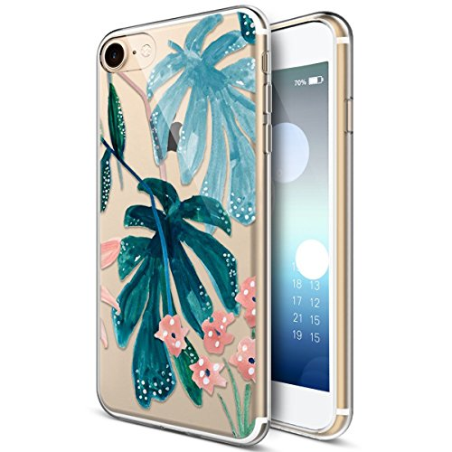 Custodia iPhone 6 Plus, iPhone 6S Plus Cover Silicone Trasparente, SainCat Cover per iPhone 6/6S Plus Custodia Silicone Morbido, Shock-Absorption Custodia Ultra Slim Transparent Silicone Case Ultra So Polvere di Foglia Verde