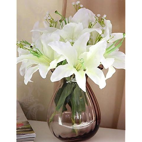 flores artificiales, conjunto de flores de lis de simulación de estilo 7 países , white