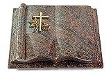 MEMORUM Grabmale Grabbuch, Grabplatte, Grabstein, Grabkissen, Urnengrabstein, Liegegrabstein Modell Antique 40 x 30 x 8-9 cm Paradiso-Granit, Poliert inkl. Gravur (Bronze-Ornament Kreuz 1)