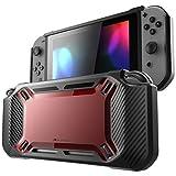Étui pour Nintendo Switch de Mumba, [ultrarésistant] Mince caoutchouté Étui de protection rigide pour Nintendo Switch édition 2017, Rouge/Noir