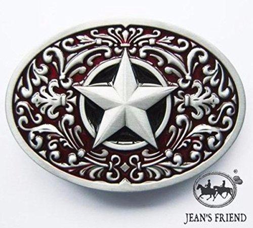 Lone Cowboy Kostüm - napolo Western Buckle Belt Cowboy gurtelschnallen New Lone Star rot Silber verziert