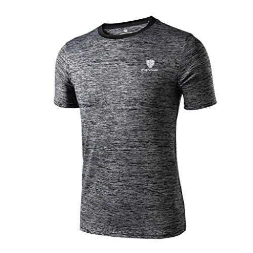 VEMOW Sommer Mann Mode Lässig Täglichen Workout Leggings Fitness Sport Gym Laufen Yoga Athletisch Shirt Top Bluse Pullover (Dunkelgrau, 52 DE/L CN)