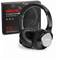 Loffitle Active Noise Cancelling Headphones Wireless Headphones Bluetooth with Mic Adjustable Headband Foldable Over Ear Headset for iPhone Android Computer Gaming Black