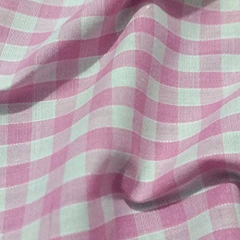 PINK & WHITE Corded Gingham Fabric Polyester and Cotton 1/4