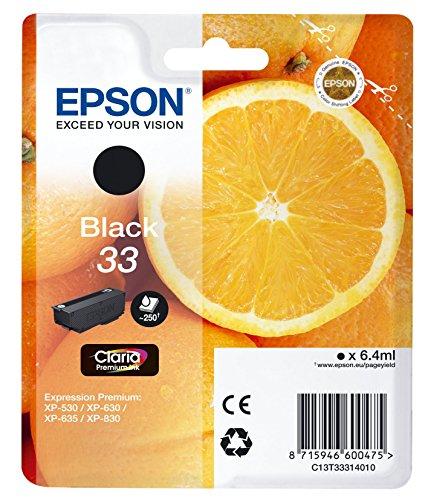 33 Farb-tintenpatrone (Epson Original T3331 Tinte, Orange, Claria Premium, Text- und Hochglanzfotodruck (Singlepack) schwarz)