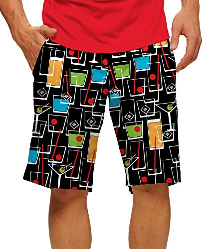 Loudmouth Golf Shorts (Loudmouth Golf StretchTech Poly-John Daly Fun Vatertag bunt Cocktail Happy Hour Herren Kurze Knielänge 27,9 cm Innennaht - Mehrfarbig - 52)