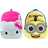 Kids School Bag/Nursery/Picnic/Carry/Travelling Bag Soft Plush Backpack School Bag For Kids- 2 To 5 Age - Pack Of 2 (H-Kitty & Minins)