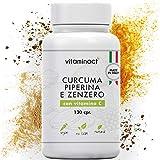 Curcuma Piperina Plus Zenzero Vitamina C▪️130 cpr▪️Altissimo Dosaggio Naturale Di Estratto Curcuma 1280,00Mg▪️Curcumina 200,00Mg▪️Piperina 10,00Mg▪️Massimi Benefici▪️Qualità Italiana▪️Nuova Formula