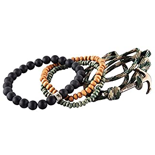 NovaLuna Casual Anchor Bracelet in Wrap Look with Sliding Knot Fastener and Anchor Applique – Unisex Men's Bracelet Accessory Jewellery in Green