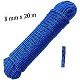 Seil 8 mm 20 m -- Polypropylenseil PP, blau / schwarz, Festmacherleine, Allzweckseil, Bruchlast: 700kg, 20 m x 8 mm