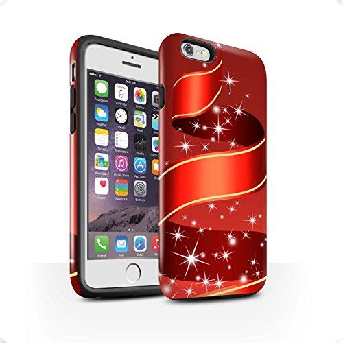 STUFF4 Glanz Harten Stoßfest Hülle / Case für Apple iPhone 6 / Sterne Muster / Weihnachts Dekoration Kollektion Band/rot