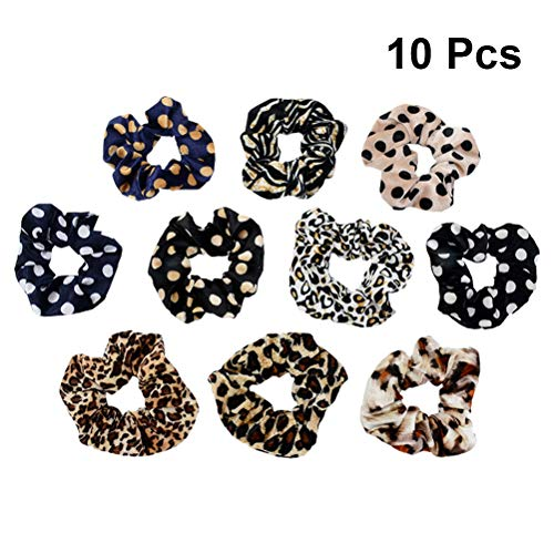 Frcolor 10 stücke Frauen Haargummis Retro Leopard Print Dot Haar Seil Pferdeschwanz Inhaber Haarschmuck