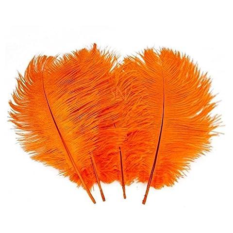 Fête Décor plumes–10pcs naturelle véritable plumes d'autruche avec Multi couleurs DIY Art Autocollant pour maison Décoration de fête de mariage Ballnight Hat DIY Scrapbooking Artisanat, Orange, 12-14 inch