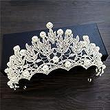DELLT- Großes Perlen-Diamant-Kronen-Braut-Kopfschmuck-Haar-Verzierungen Koreanisches süßes Hochzeits-Kleid mit Schmucksache-Krone