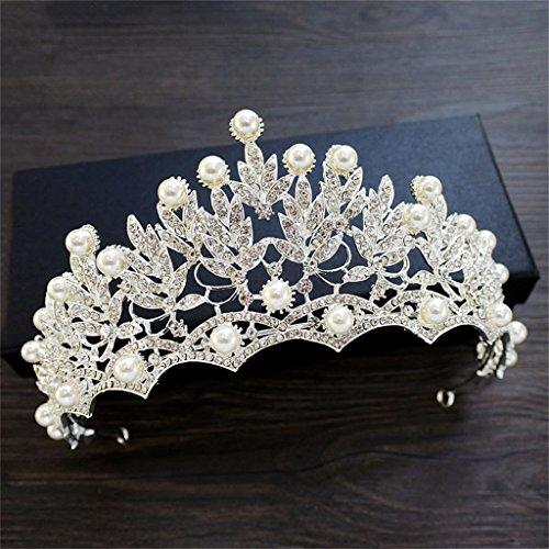 DELLT- Großes Perlen-Diamant-Kronen-Braut-Kopfschmuck-Haar-Verzierungen Koreanisches süßes...