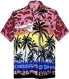 LA LEELA bouton chemise hawaïenne d'homme manches courtes fête de vacances aloha occasionnel 4XL - Tour poitrine (cms) : 162-167 Rouge_W134