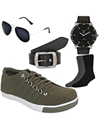 Lime Fashion Combo Of Casual Shoes With Watch Sunglass Belt And 2 Pair Of Socks