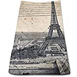 best& Eiffel Tower Paris Multi-Purpose Microfiber Towel Ultra Compact Super Absorbent and Fast Drying Sports Towel Travel Towel Beach Towel Perfect for Camping, Gym, Swimming.