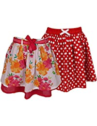 ShopperTree Printed Cotton Skirts for girls (Pack Of 2)
